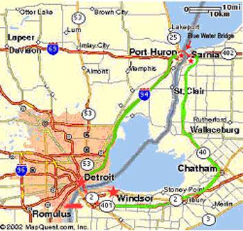 Map Of Detroit Canada Border Detroit Windsor Truck Ferry ]